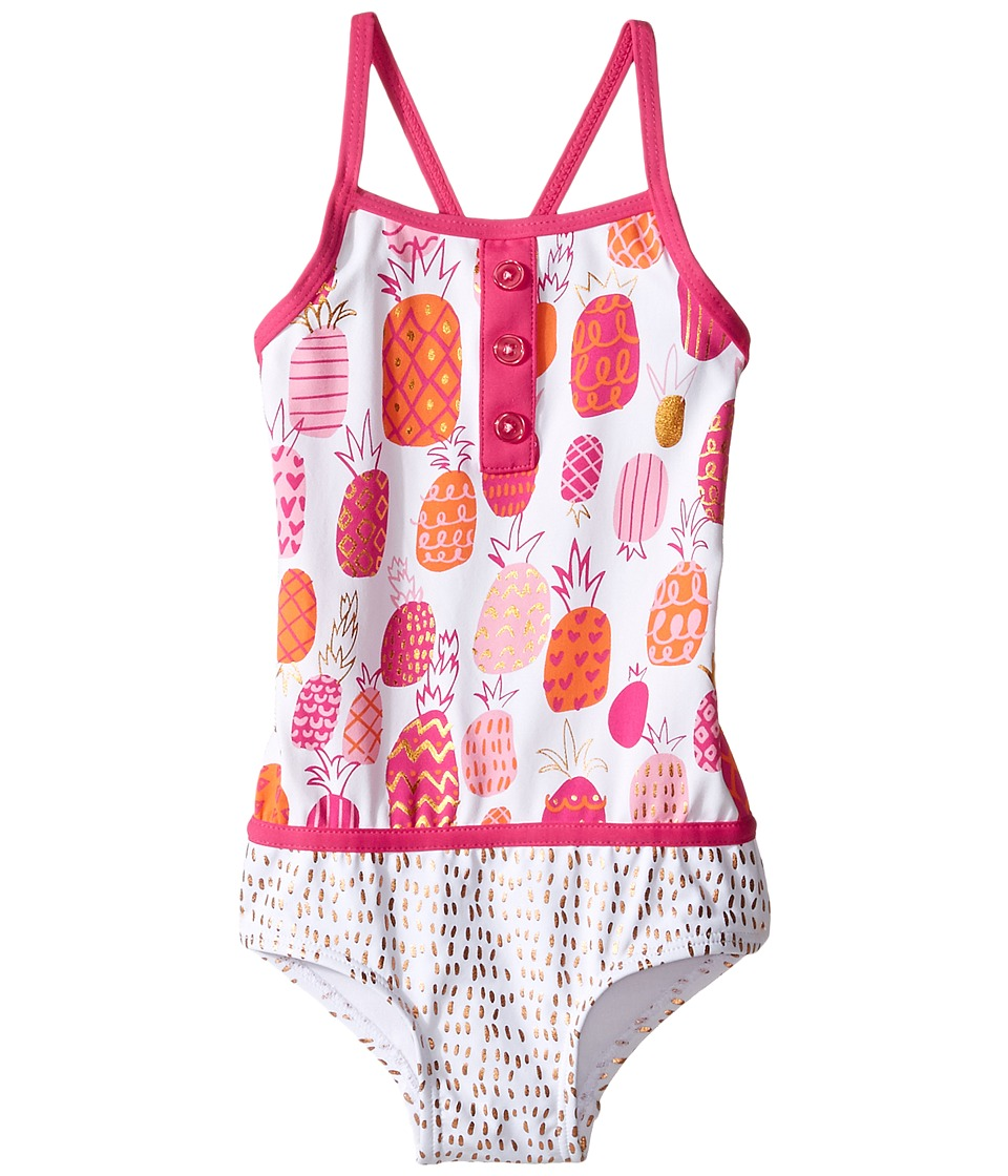 Hatley Kids - Tropical Pineapples Color Block Swimsuit (Toddler/Little Kids/Big Kids) (White) Girl's Swimsuits One Piece