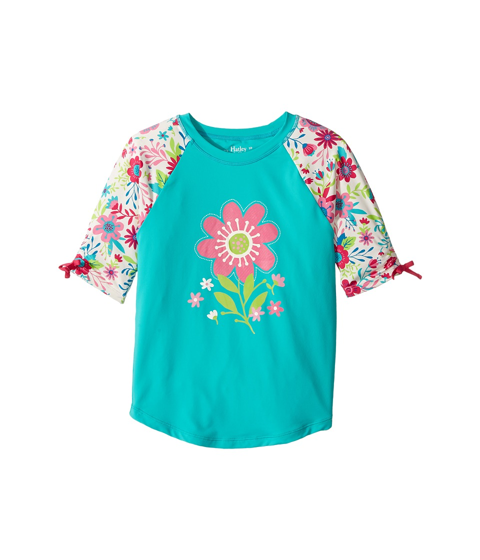 Hatley Kids Wallpaper Flowers Short Sleeve Rashguard (Toddler/Little Kids/Big Kids) (Aqua) Girl