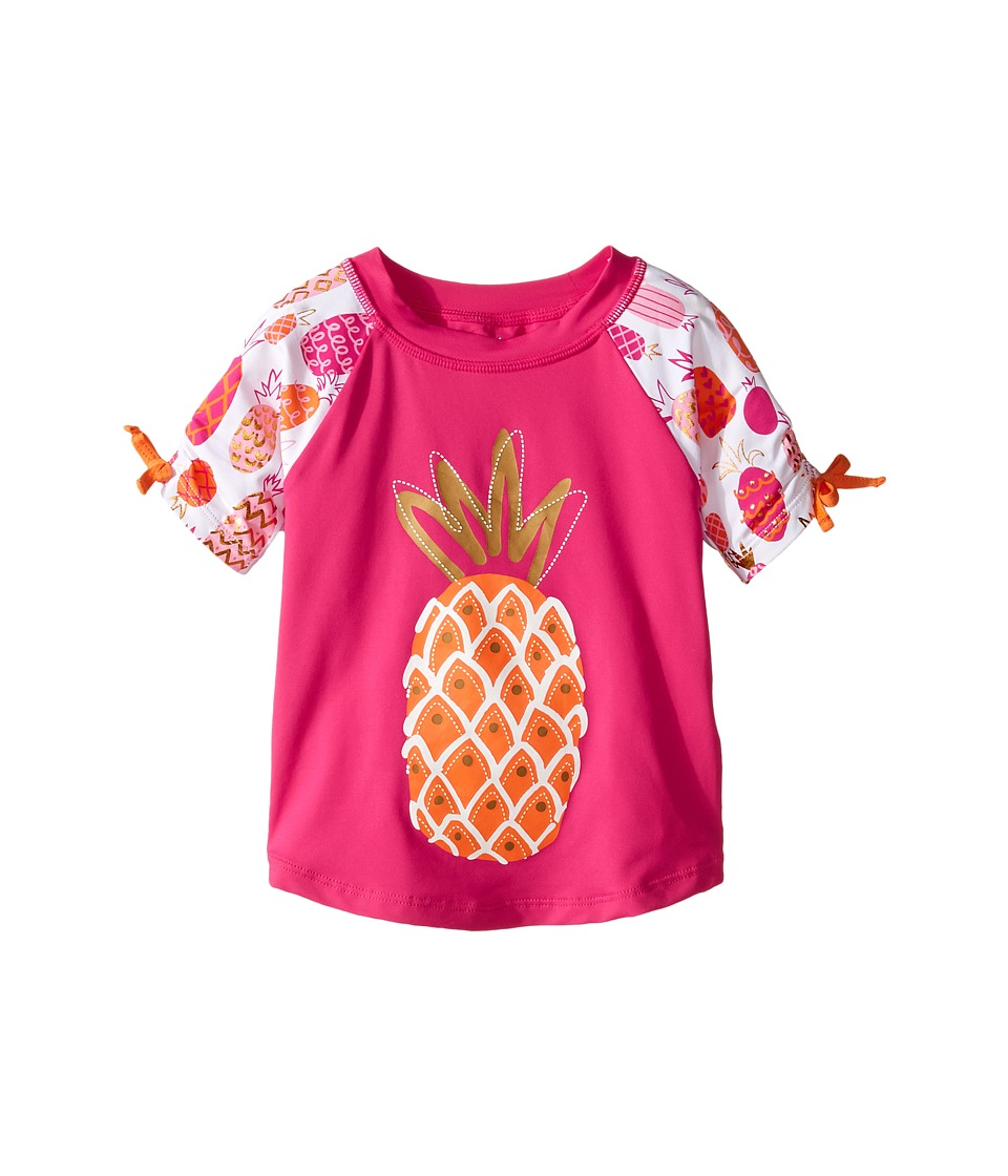 Hatley Kids Tropical Pineapples Short Sleeve Rashguard (Toddler/Little Kids/Big Kids) (Pink) Girl