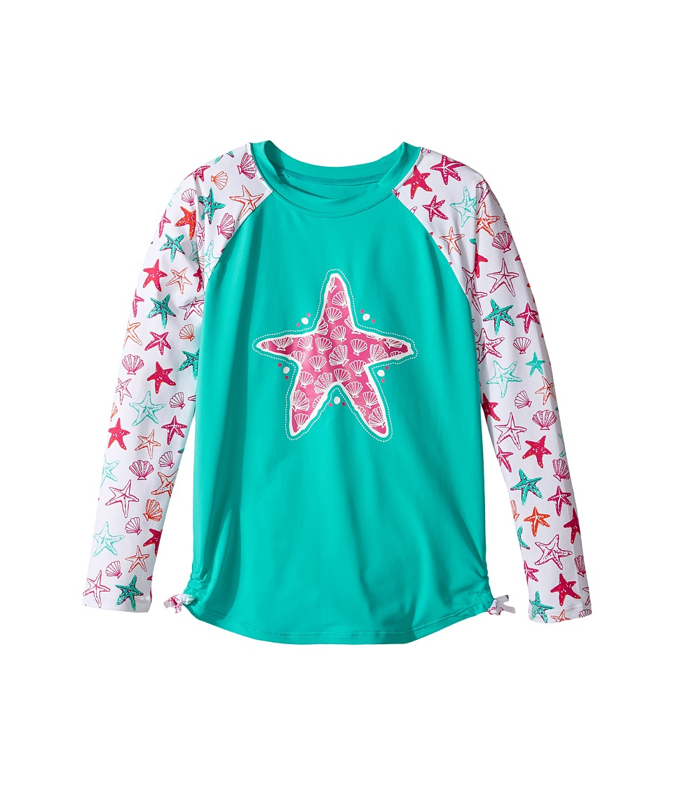 Hatley Kids - Star Fish Rashguard (Toddler/Little Kids/Big Kids) (Aqua) Girl's Swimwear