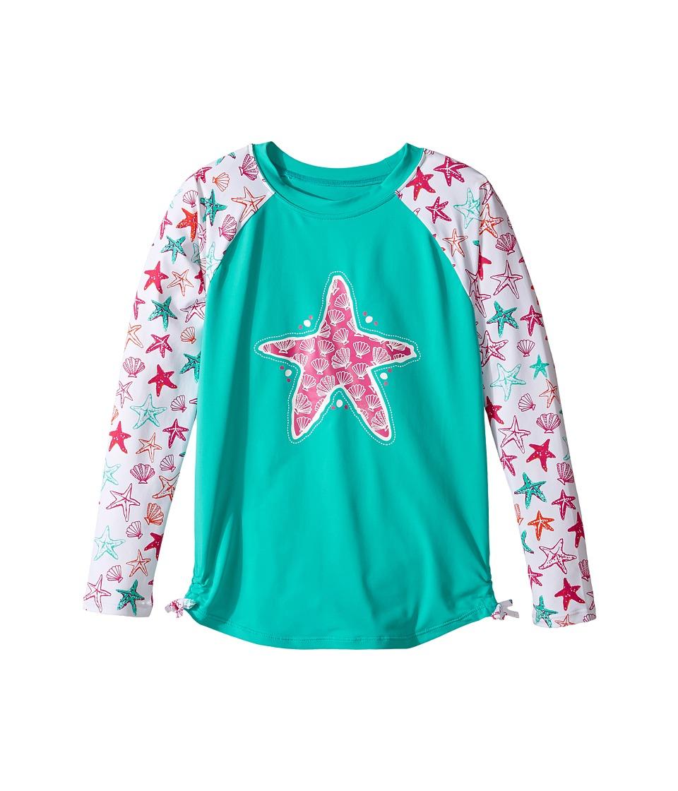 Hatley Kids - Star Fish Rashguard (Toddler/Little Kids/Big Kids) (Aqua) Girl's Swimwear
