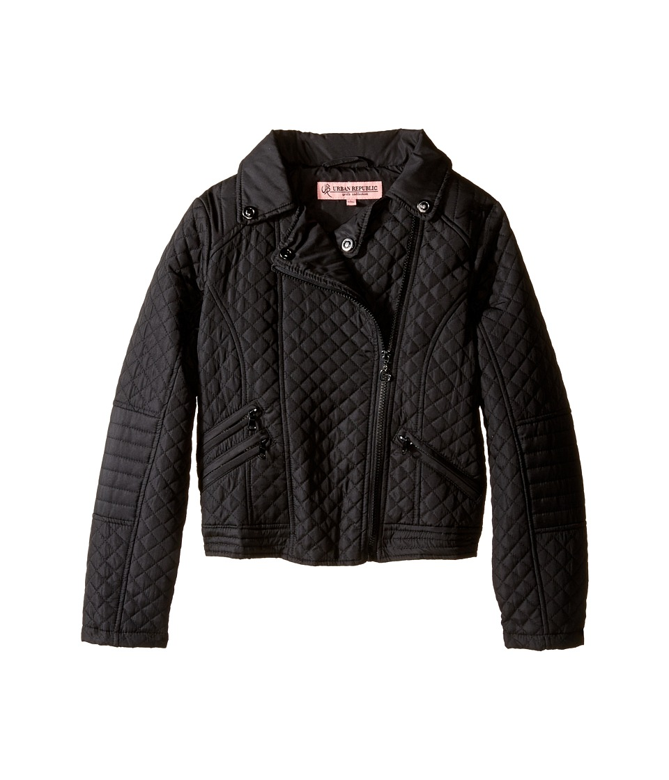 Urban Republic Kids Moto Thinfill Quilted Jacket (Little Kids/Big Kids) (Black) Girl