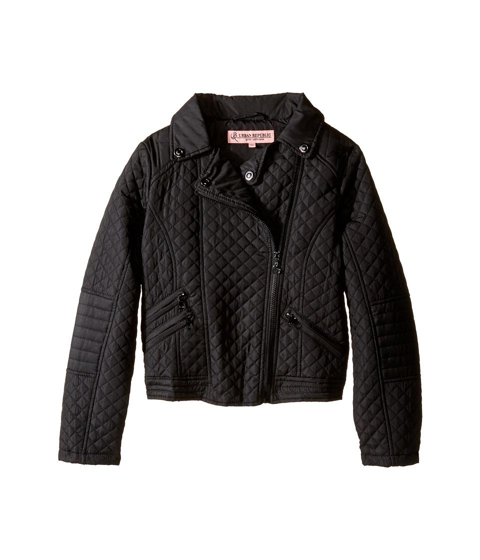 Urban Republic Kids Moto Thinfill Quilted Jacket (Little Kids/Big Kids) (Black) Girl