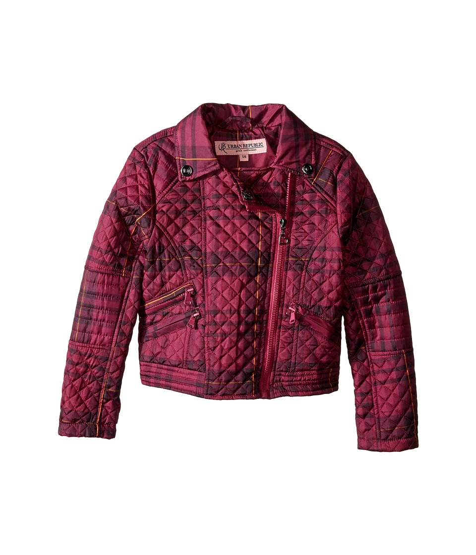 Urban Republic Kids - Moto Thinfill Quilted Jacket (Little Kids/Big Kids) (Tartan Pink Plaid) Girl's Coat
