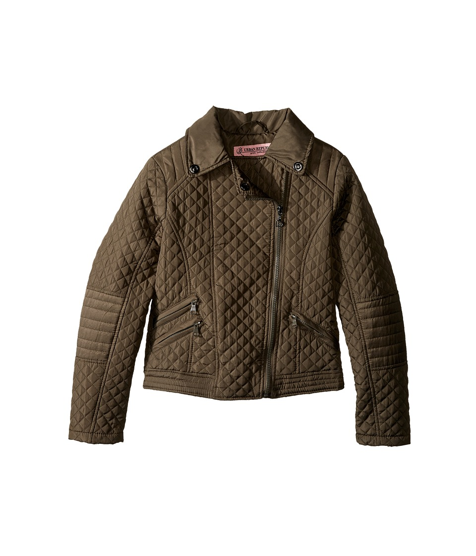 Urban Republic Kids Moto Thinfill Quilted Jacket (Little Kids/Big Kids) (Olive) Girl