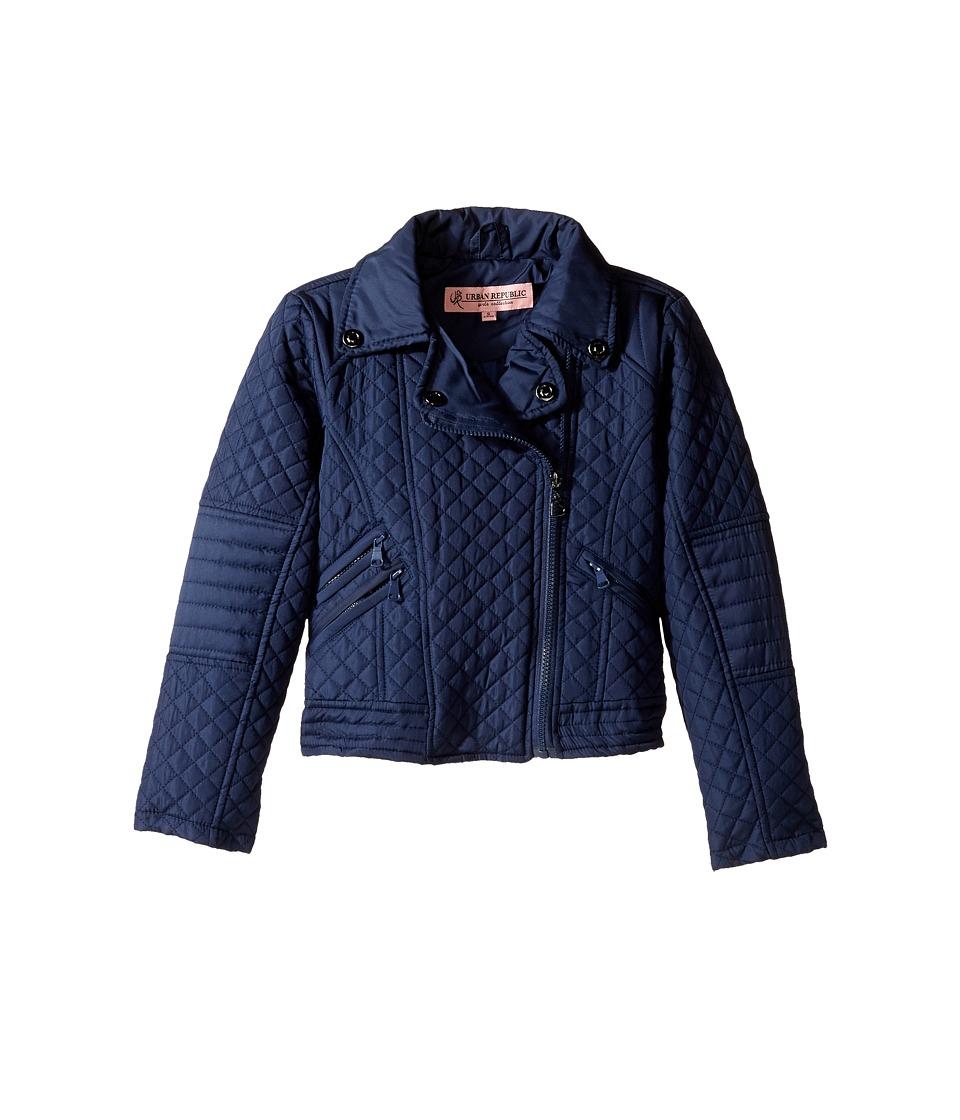 Urban Republic Kids - Moto Thinfill Quilted Jacket (Little Kids/Big Kids) (Navy) Girl's Coat