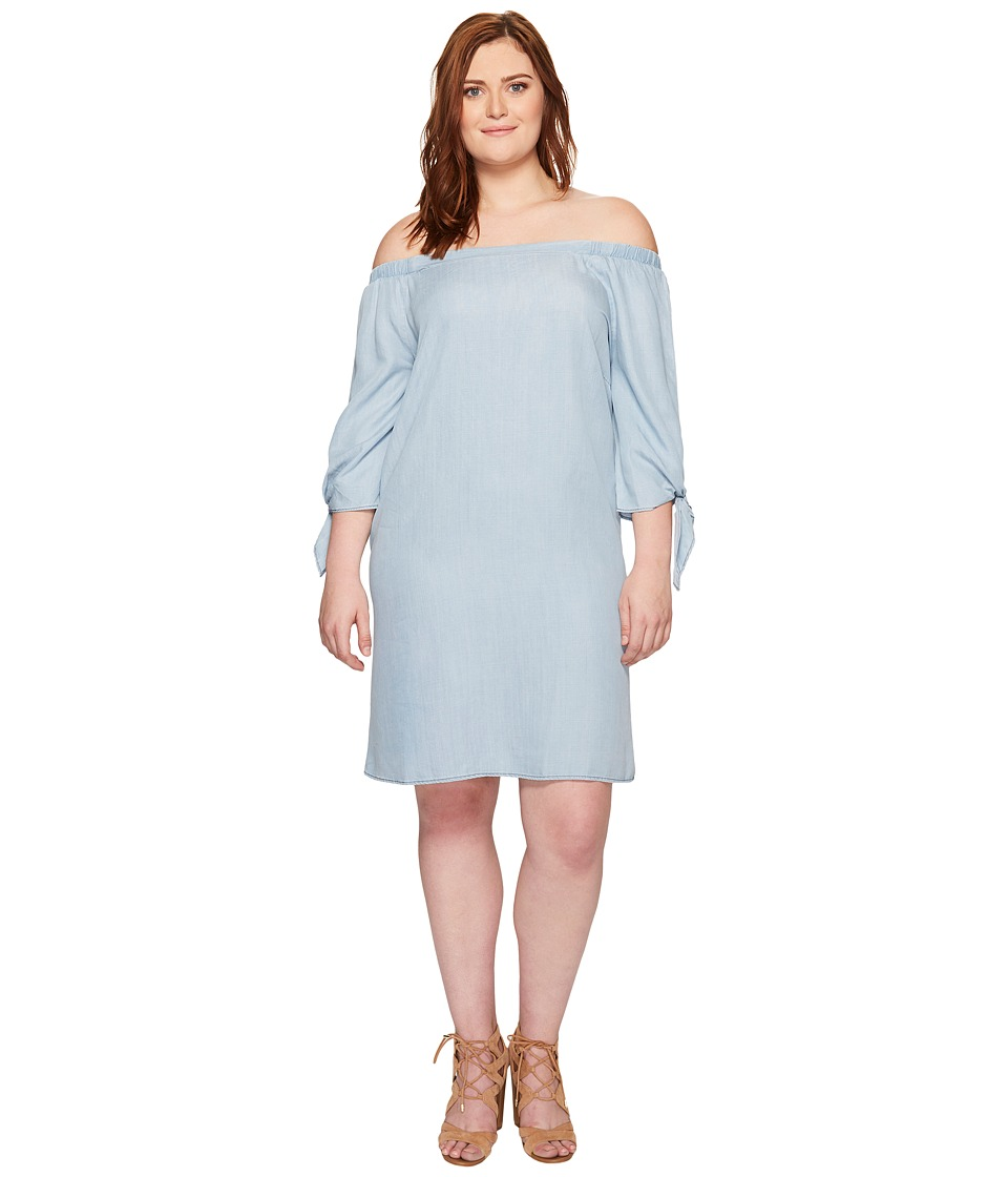 B Collection by Bobeau - Plus Size Lyocell Off Shoulder Dress (Chambray) Women's Dress