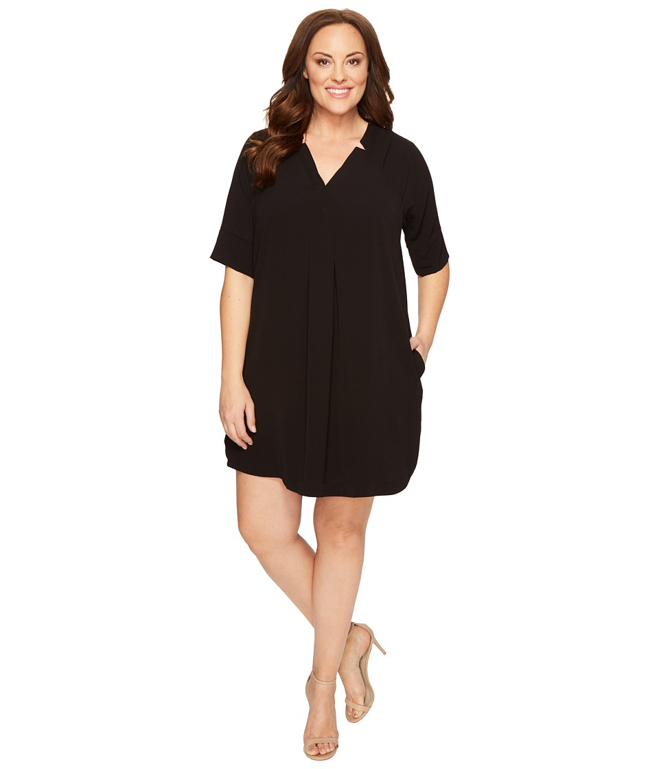 B Collection by Bobeau Curvy - Plus Size Loren Shirtdress (Black) Women's Dress