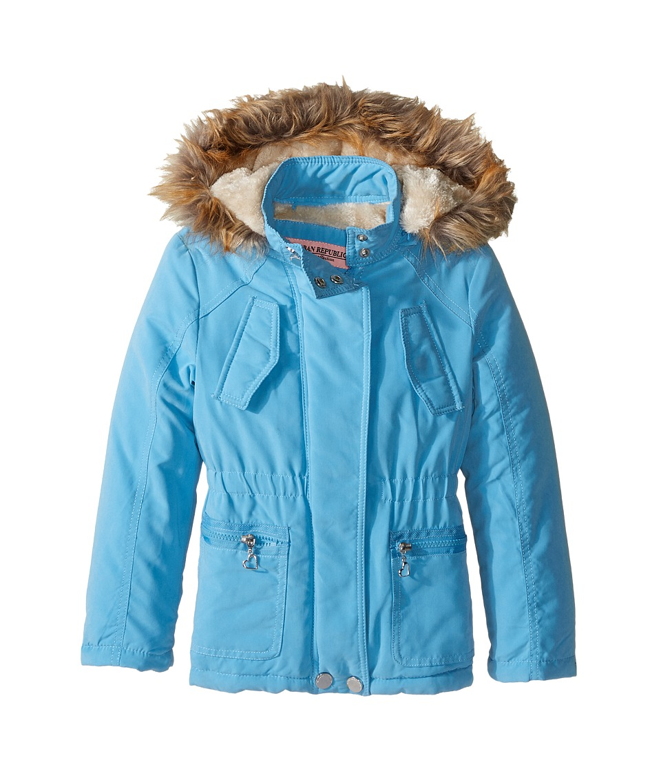 Urban Republic Kids Peach-Finish Microfiber Jacket w/ Detachable Faux Fur Hood (Little Kids/Big Kids) (Dolphin) Girl