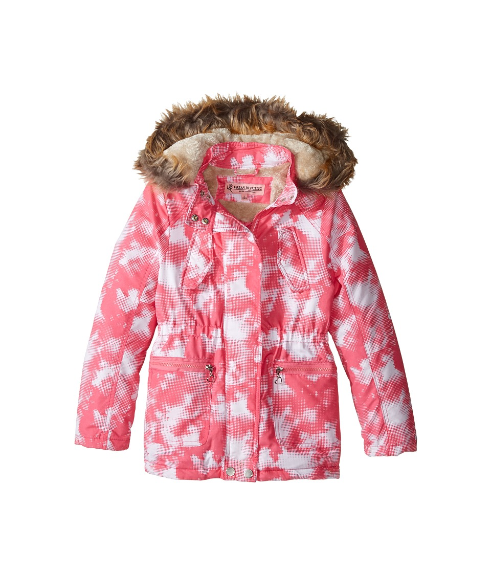 Urban Republic Kids Peach-Finish Microfiber Jacket w/ Detachable Faux Fur Hood (Little Kids/Big Kids) (Pink/White) Girl
