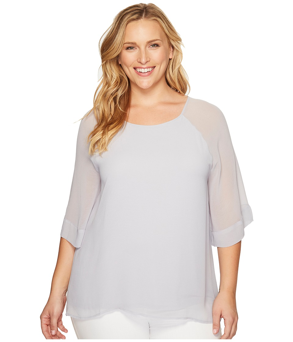 B Collection by Bobeau Curvy - Plus Size Birdie Mix Media Blouse (Pale Blue) Women's Blouse