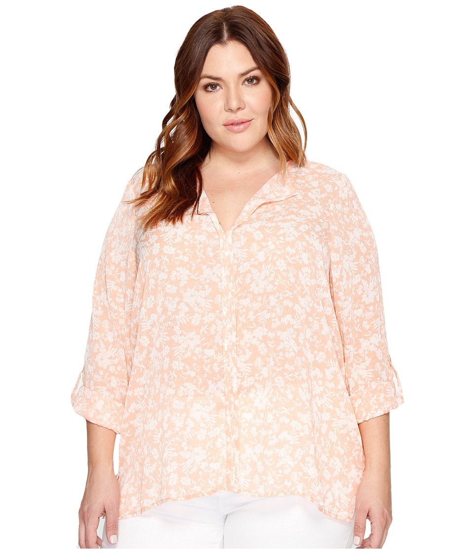 B Collection by Bobeau Curvy - Plus Size Cristy Pleat Back Blouse (Peach) Women's Blouse
