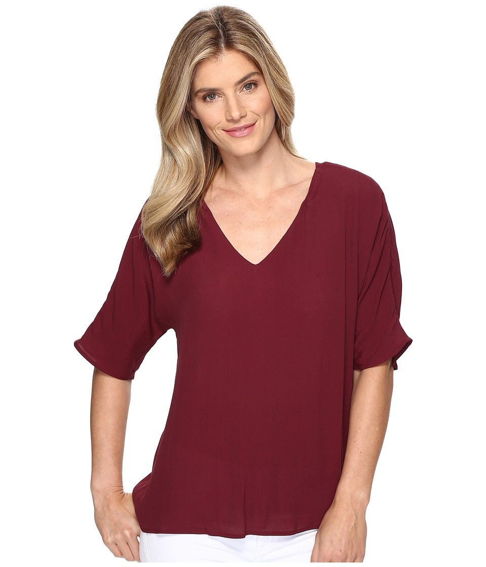 B Collection by Bobeau - Becca Pleat Back Blouse (Berry) Women's Blouse