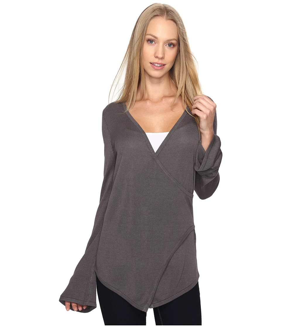 B Collection by Bobeau - Pullover Sweater w/ Flare Sleeve (Charcoal Grey) Women's Sweater