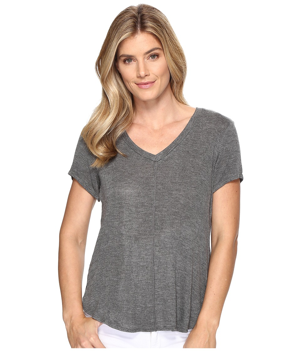 B Collection by Bobeau - Adley V-Neck High-Low T-Shirt (Charcoal Grey) Women's T Shirt