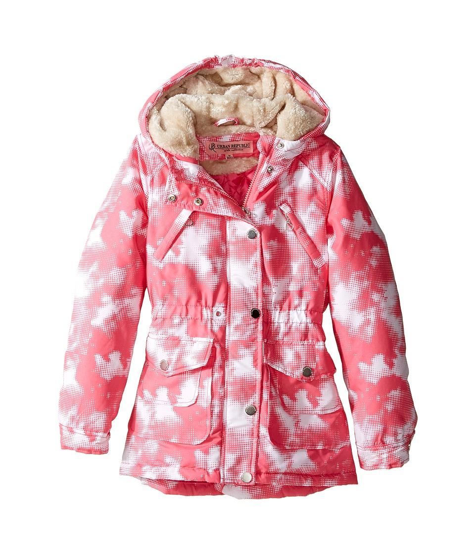 Urban Republic Kids - Peach-Finish Microfiber Jacket (Little Kids/Big Kids) (Pink/White) Girl's Coat