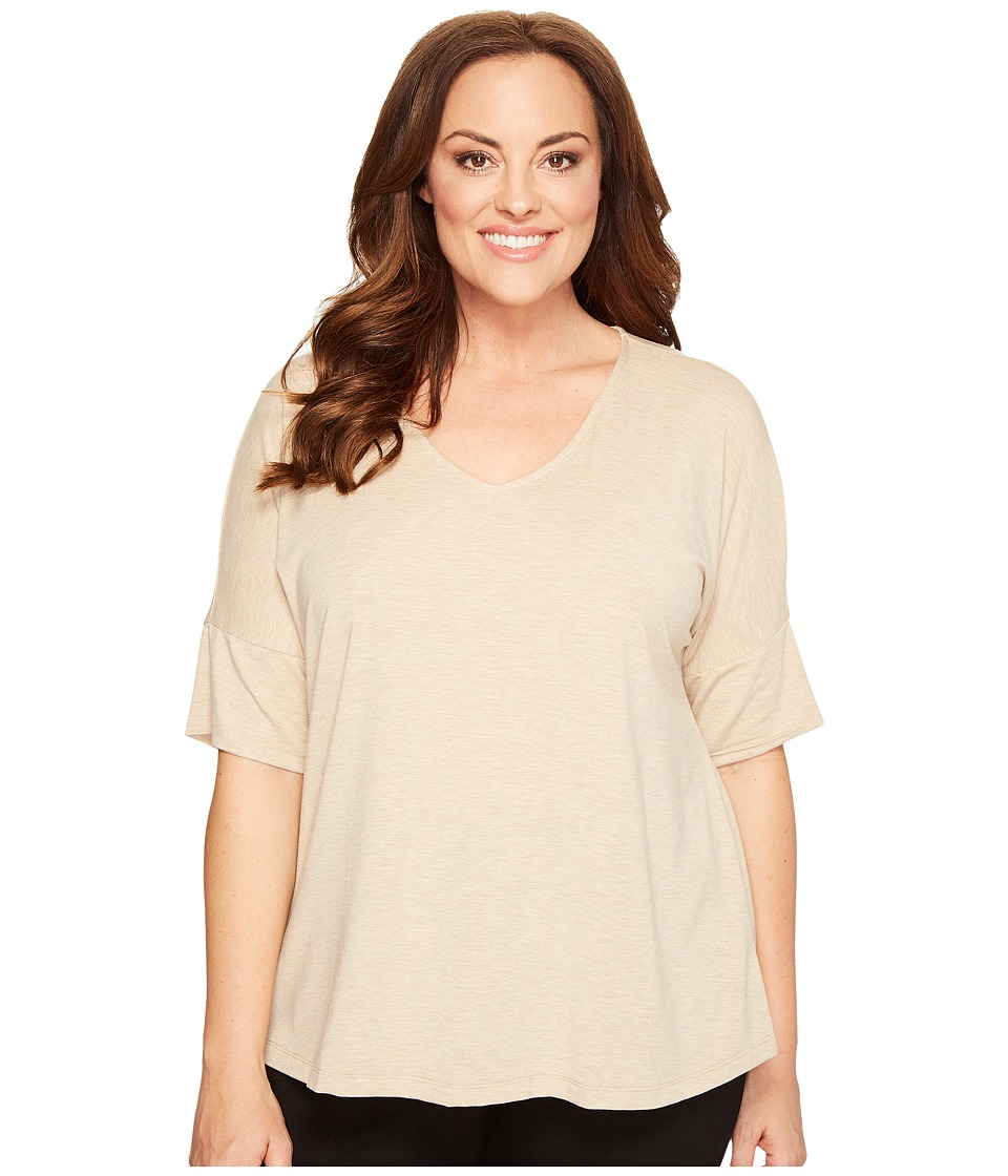 B Collection by Bobeau Curvy - Plus Size Mallory Dolman Mixed Media Top (Oatmeal) Women's Long Sleeve Pullover