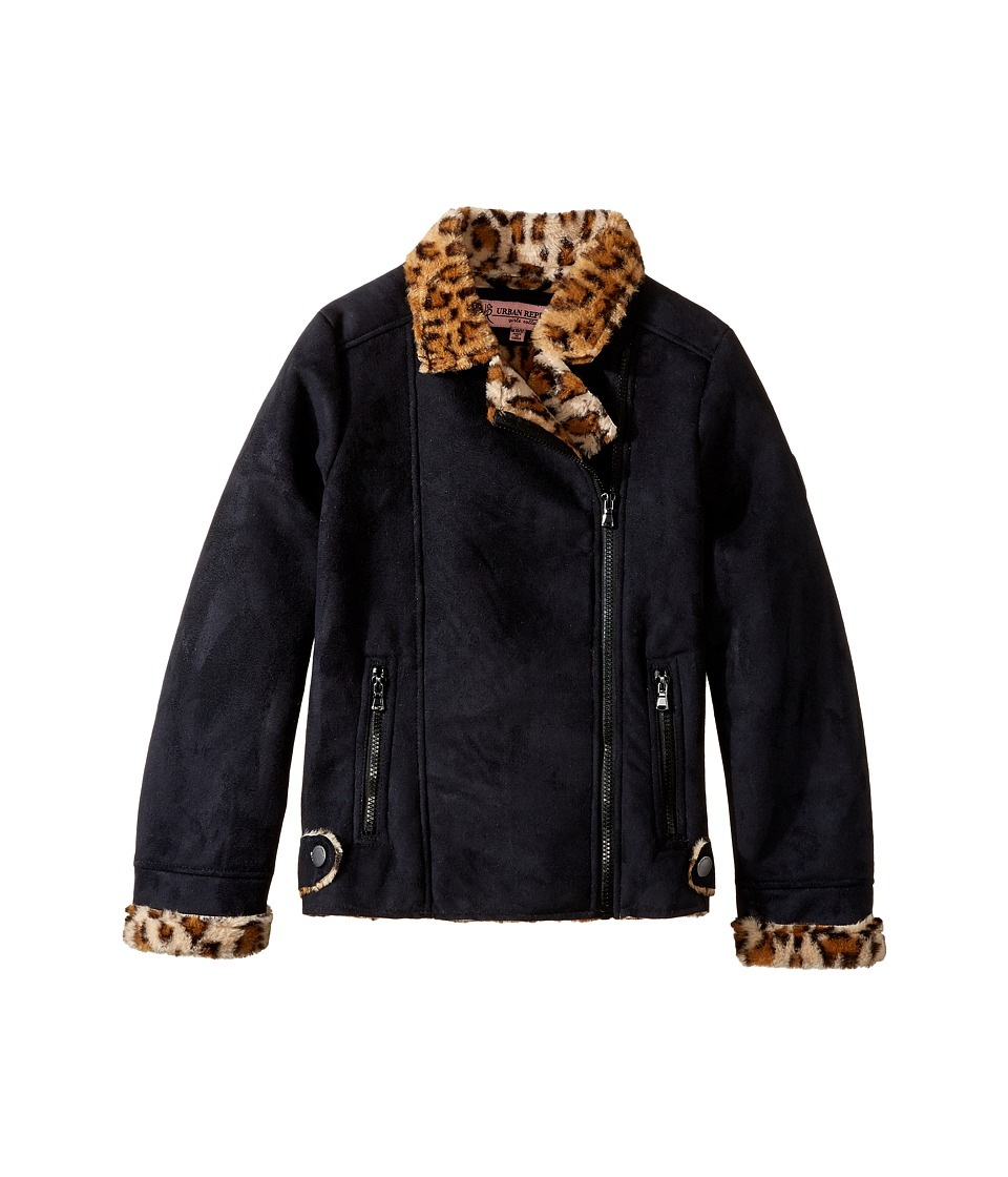 Urban Republic Kids - Ultra Suede Faux Shearling Jacket (Little Kids/Big Kids) (Black) Girl's Coat