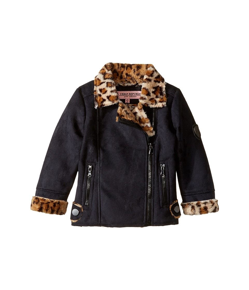 Urban Republic Kids - Ultra Suede Faux Shearling Jacket (Toddler) (Black) Girl's Coat