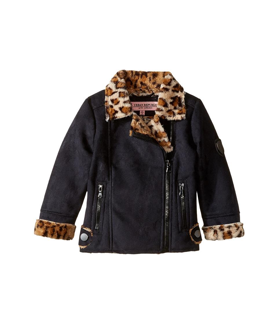 Urban Republic Kids - Ultra Suede Faux Shearling Jacket (Toddler) (Black) Girl's Coat