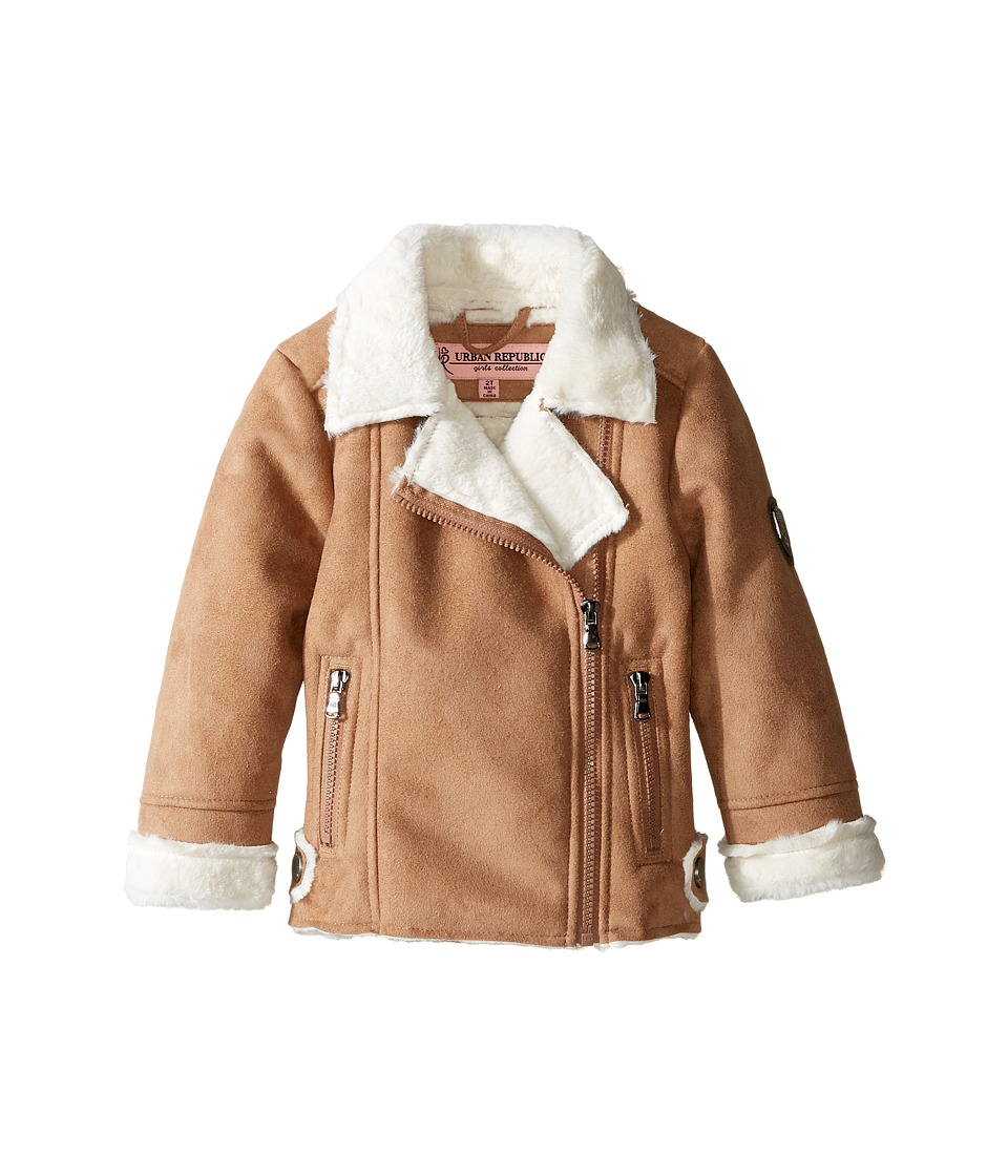 Urban Republic Kids - Ultra Suede Faux Shearling Jacket (Toddler) (Caramel) Girl's Coat