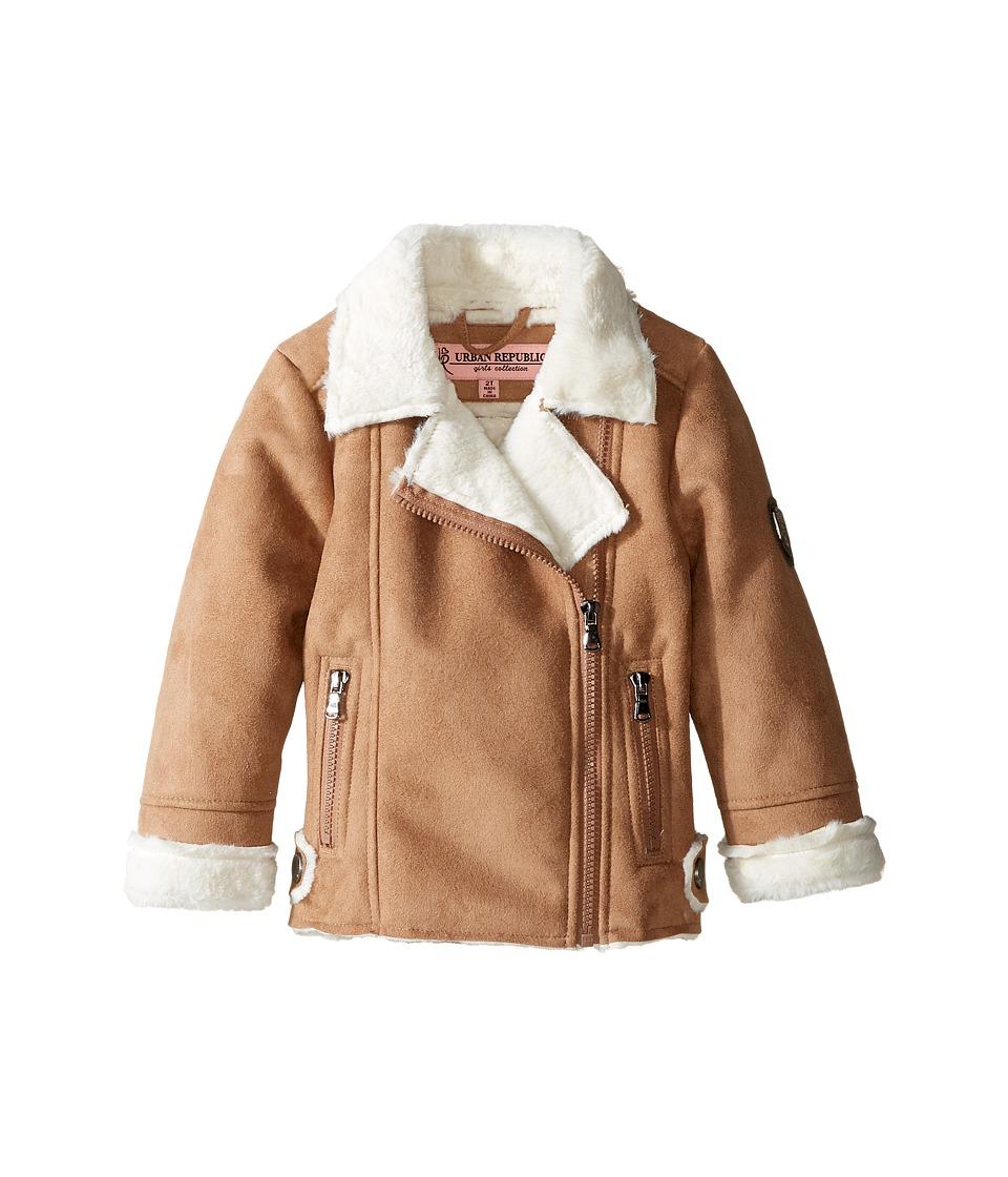 Urban Republic Kids - Ultra Suede Faux Shearling Jacket (Toddler) (Caramel) Girl's Coat