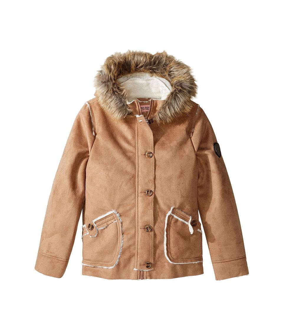 Urban Republic Kids - Hooded Ultra Suede Faux Shearling Jacket (Little Kids/Big Kids) (Caramel) Girl's Coat
