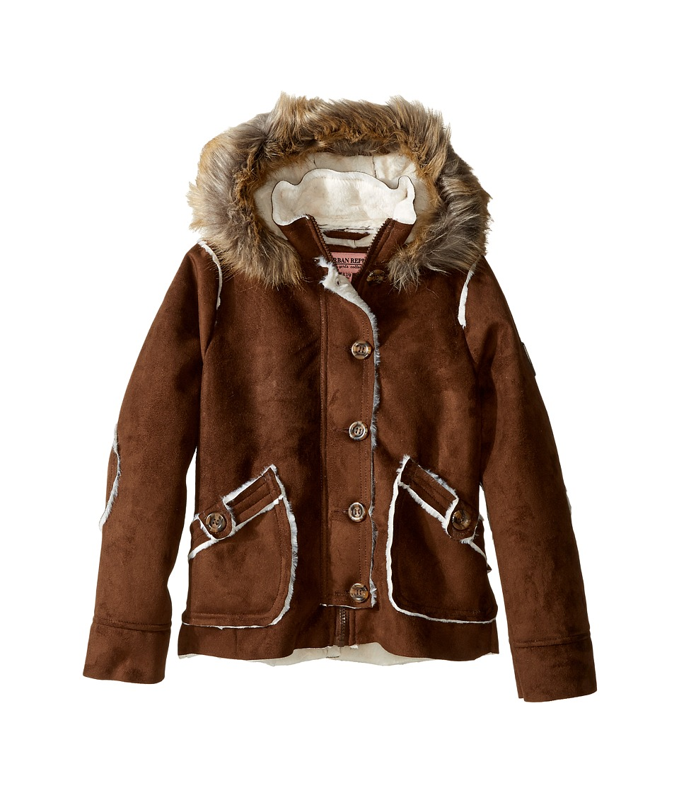 Urban Republic Kids - Hooded Ultra Suede Faux Shearling Jacket (Little Kids/Big Kids) (Coffee) Girl's Coat