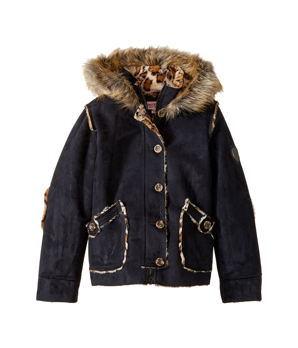 Urban Republic Kids - Hooded Ultra Suede Faux Shearling Jacket (Little Kids/Big Kids) (Black) Girl's Coat