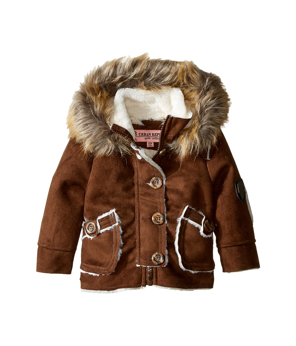 Urban Republic Kids - Hooded Ultra Suede Faux Shearling Jacket (Infant/Toddler) (Coffee) Girl's Coat