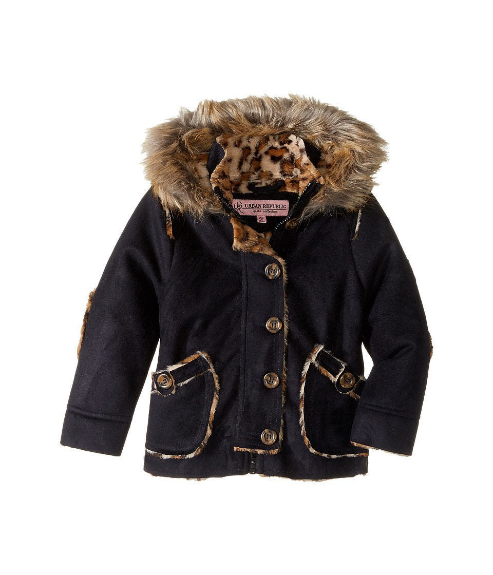 Urban Republic Kids - Hooded Ultra Suede Faux Shearling Jacket (Infant/Toddler) (Black) Girl's Coat