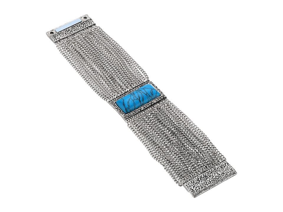 Steve Madden - Rectangle Turquoise Stone Textured Border w/ Curb Chain Bracelet (Silver) Bracelet