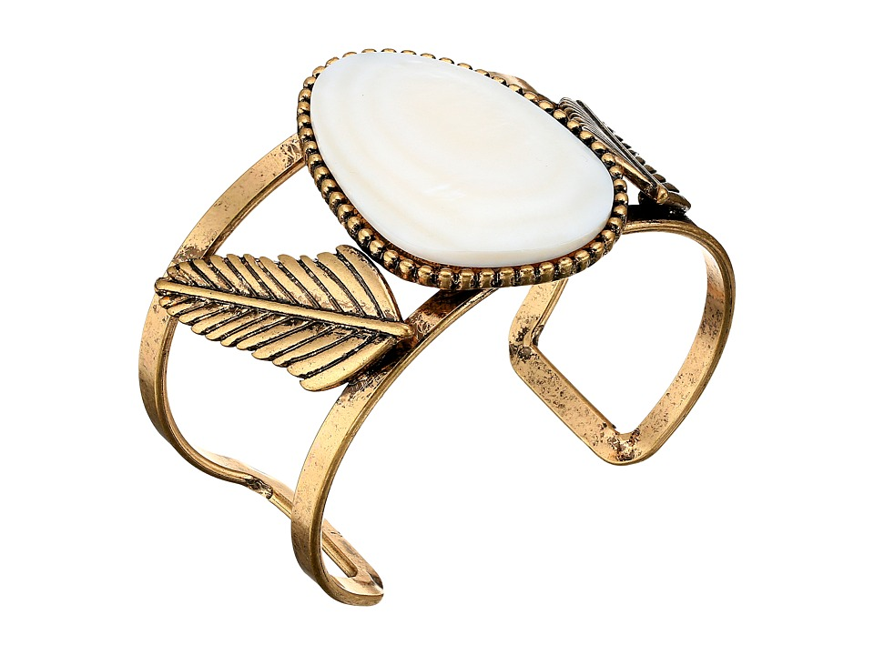 Steve Madden - White Stone w/ Leaves Open Cuff Bangle Bracelet (Gold) Bracelet