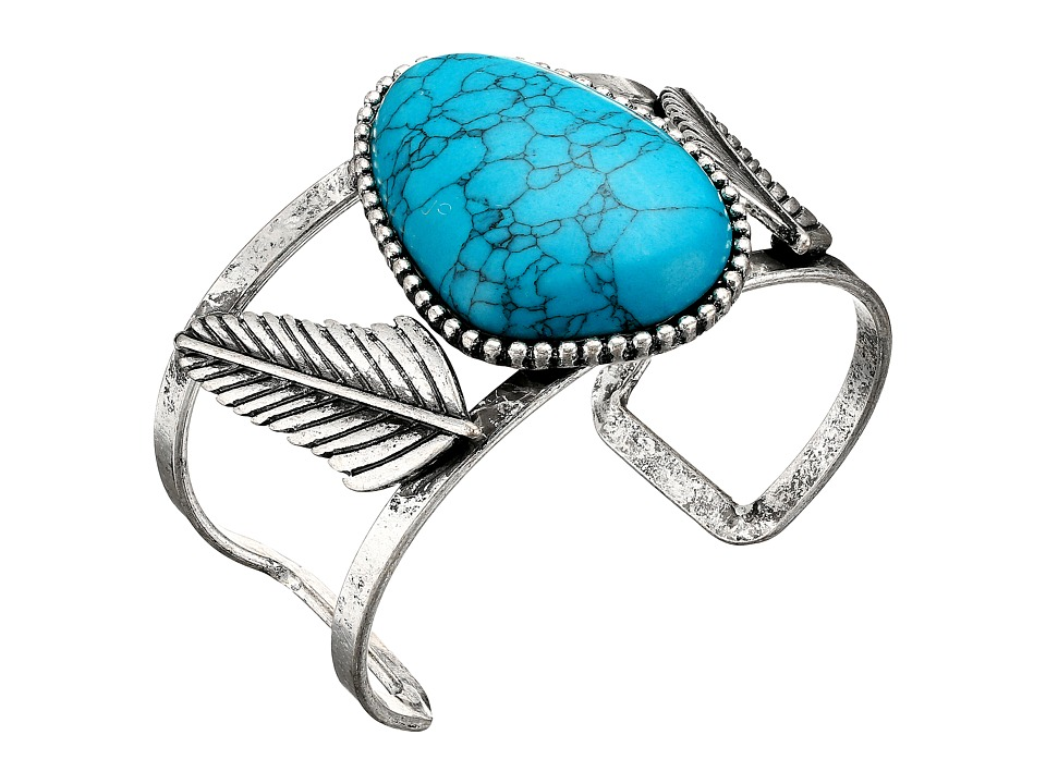 Steve Madden - Turquoise Stone w/ Leaves Open Cuff Bangle Bracelet (Silver) Bracelet