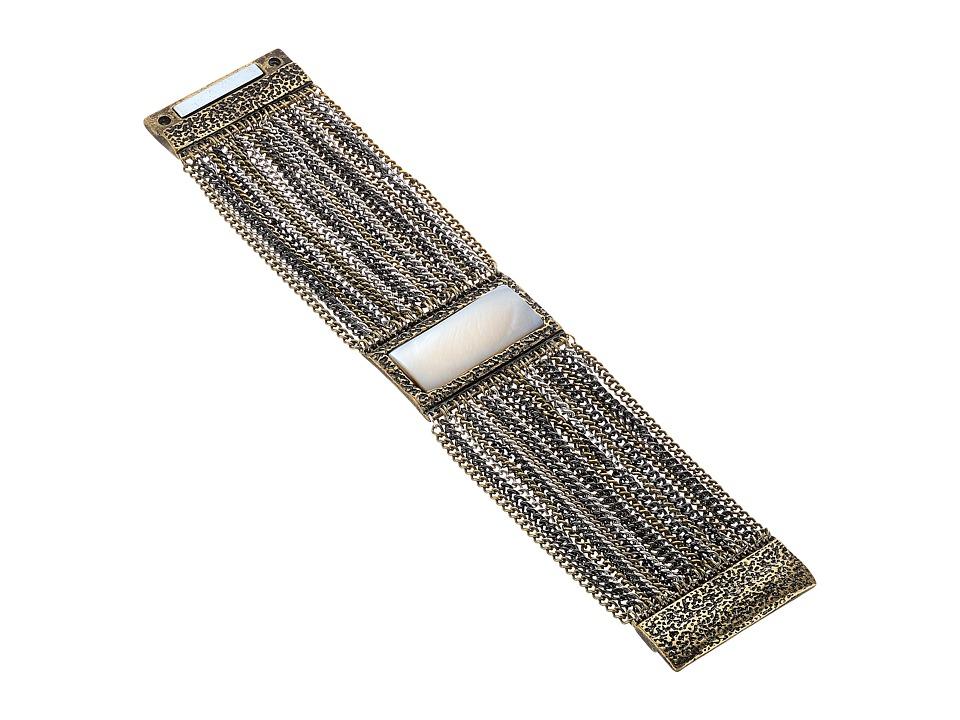 Steve Madden - Rectangle White Stone Textured Border w/ Curb Chain Bracelet (Tri-Tone) Bracelet