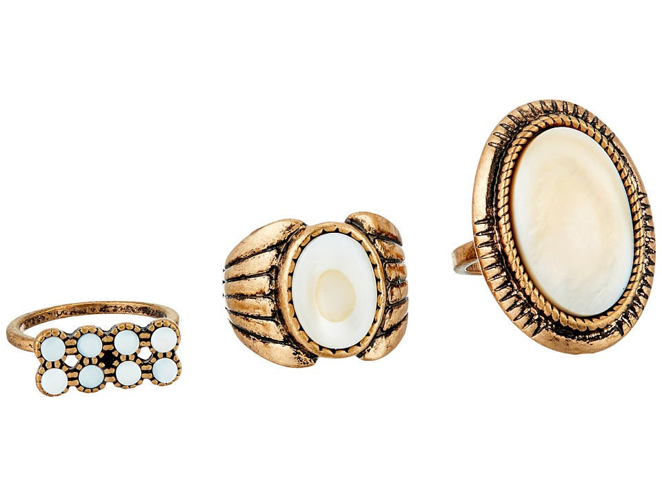 Steve Madden - Round and Oval White Stone Three-Piece Ring Set (Gold) Ring