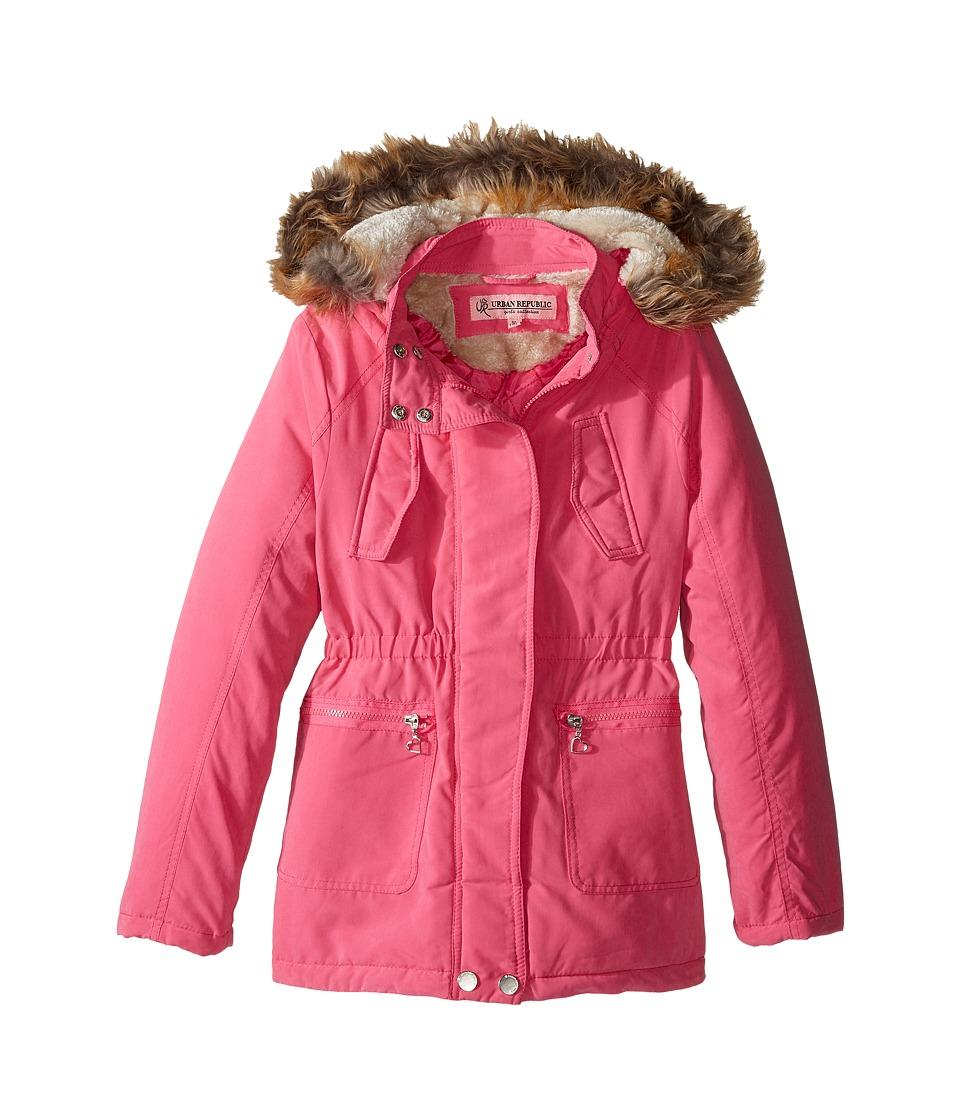 Urban Republic Kids Peach-Finish Microfiber Jacket w/ Detachable Faux Fur Hood (Little Kids/Big Kids) (Pink) Girl