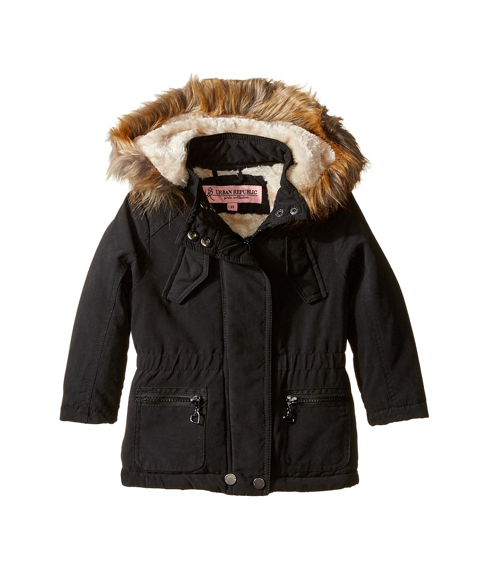 Urban Republic Kids - Peach-Finish Microfiber Jacket w/ Detachable Faux Fur Hood (Toddler) (Black) Girl's Coat