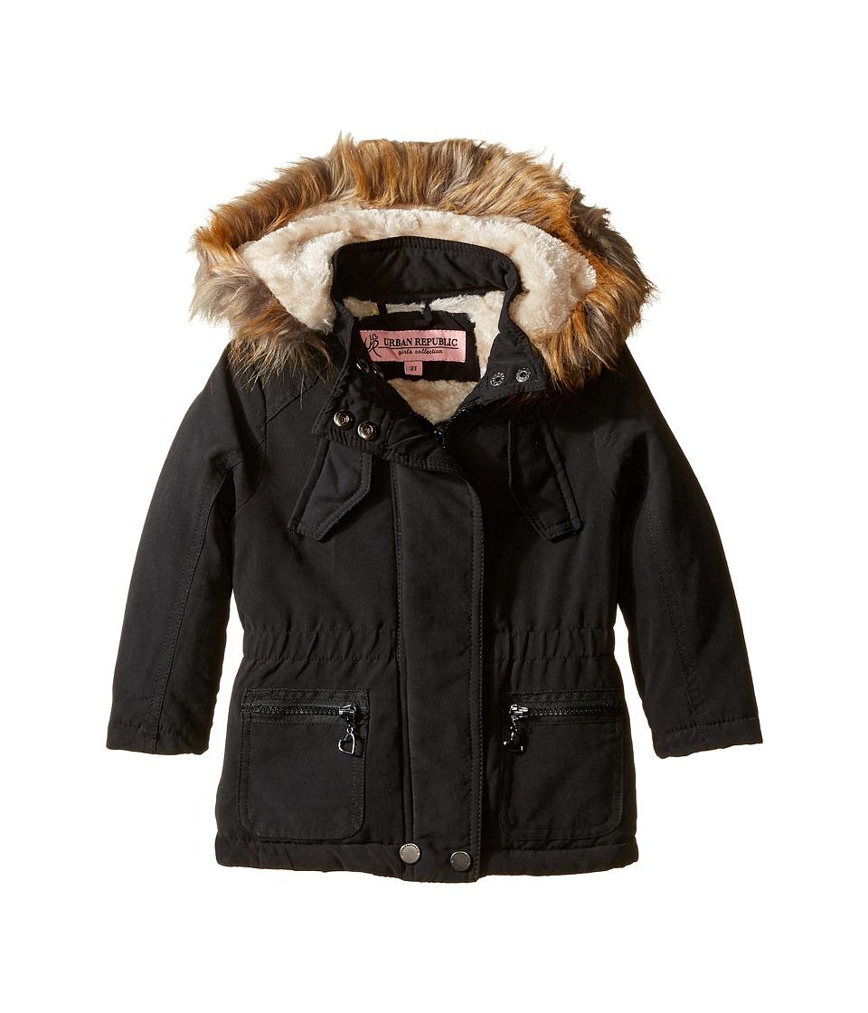 Urban Republic Kids - Peach-Finish Microfiber Jacket w/ Detachable Faux Fur Hood (Toddler) (Black) Girl's Coat