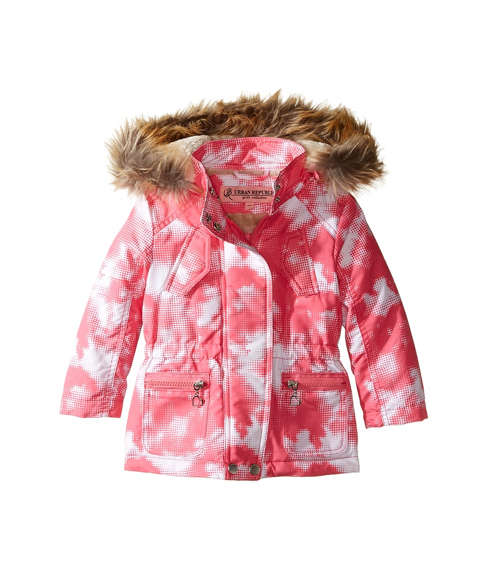 Urban Republic Kids - Peach-Finish Microfiber Jacket w/ Detachable Faux Fur Hood (Toddler) (Pink/White) Girl's Coat