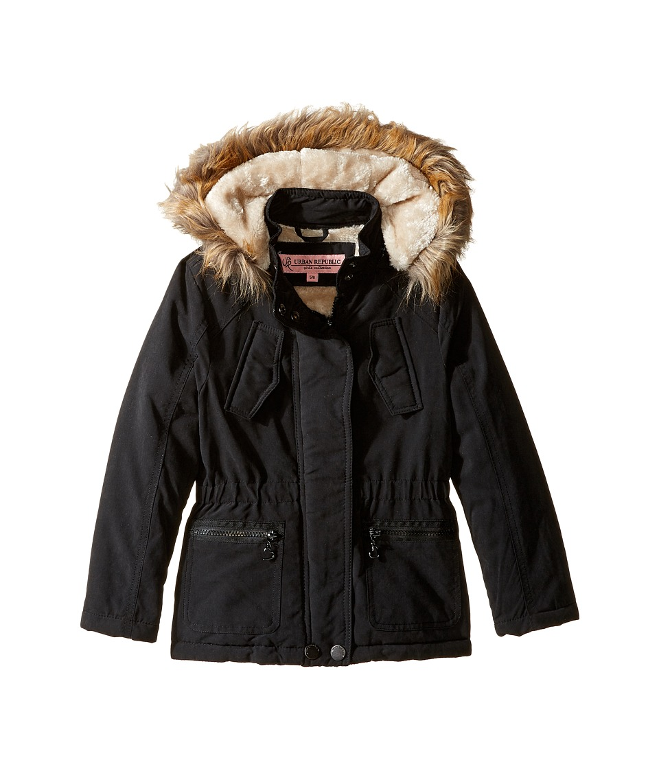 Urban Republic Kids Peach-Finish Microfiber Jacket w/ Detachable Faux Fur Hood (Little Kids/Big Kids) (Black) Girl