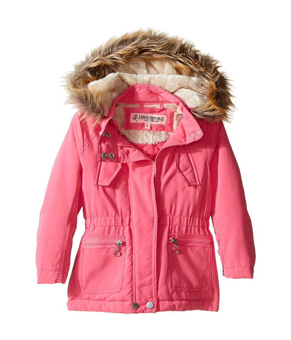 Urban Republic Kids - Peach-Finish Microfiber Jacket w/ Detachable Faux Fur Hood (Toddler) (Pink) Girl's Coat