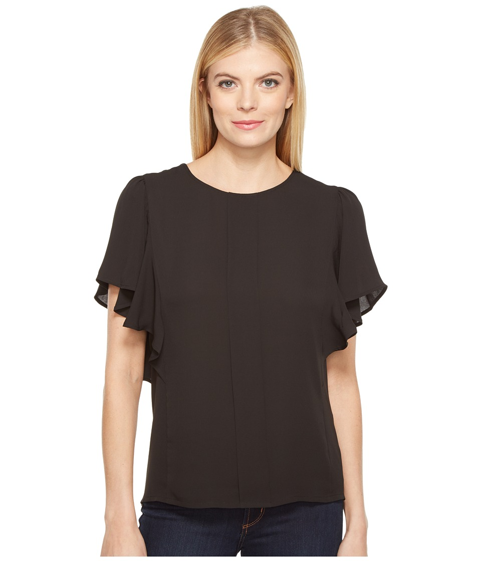B Collection by Bobeau - Acacia Flutter Sleeve Top (Black) Women's Short Sleeve Pullover
