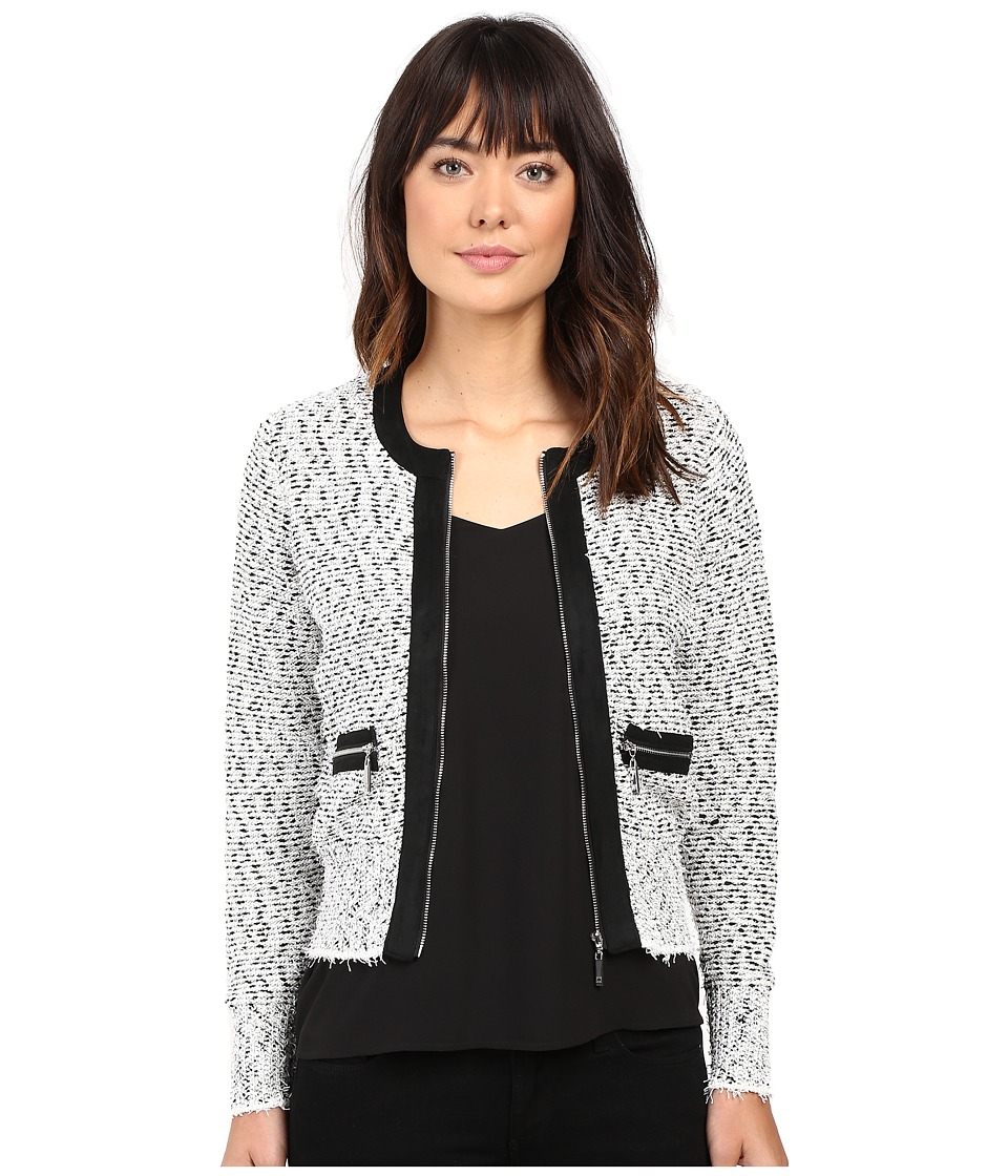 Ivanka Trump - Marled Sweater with Zipper and Suede Trims (Gravel/Black/Ivory) Women's Sweater