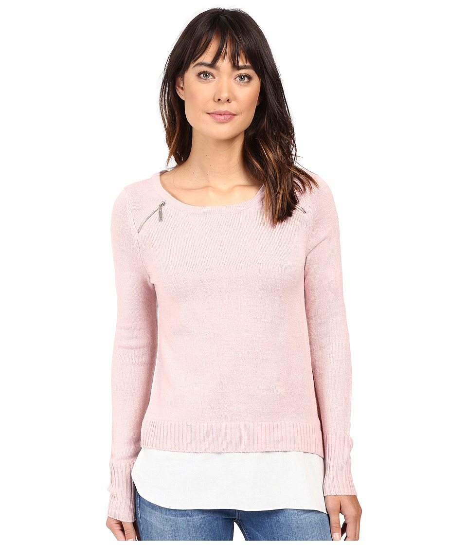 Ivanka Trump - Zipper Sweater with Cotton Shirt (Heather Blush Pink/Ivory) Women's Sweater