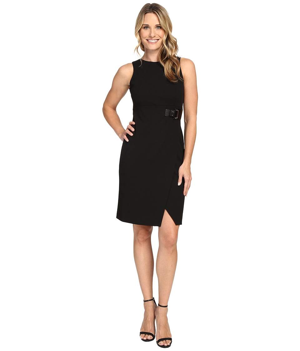 Ivanka Trump - Scuba Crepe Dress with Belt (Black) Women's Dress