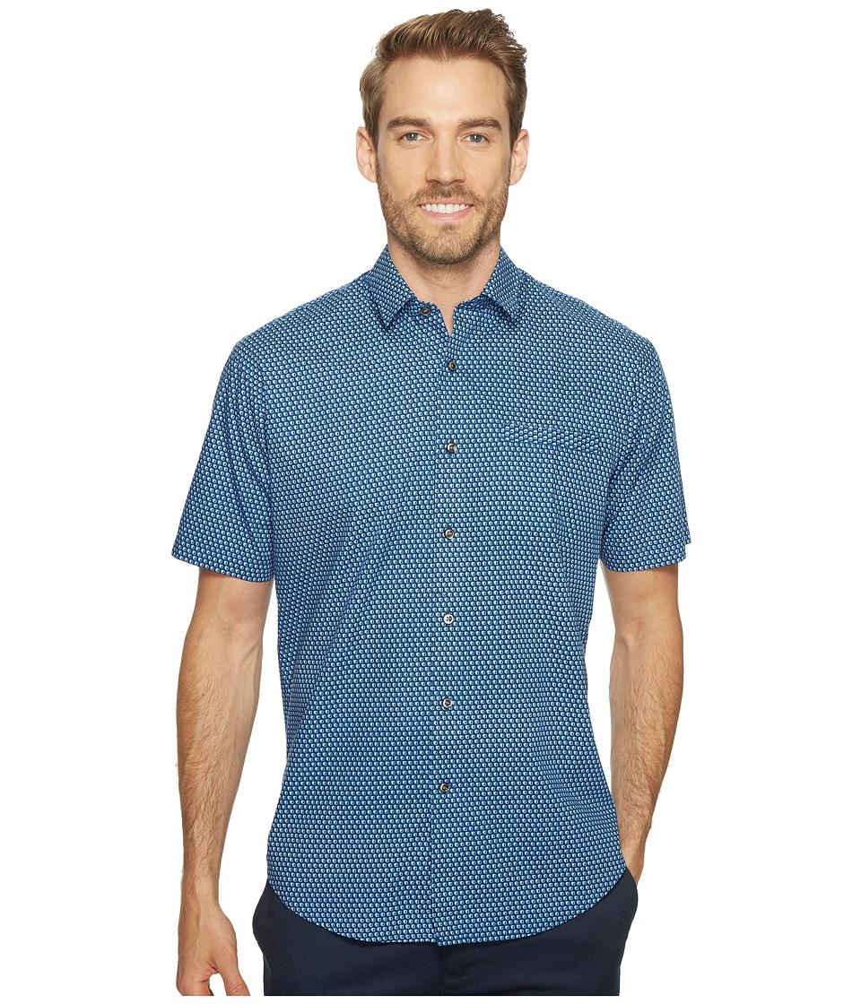 James Campbell - Sanders Short Sleeve Woven Shirt (Blue) Men's Clothing
