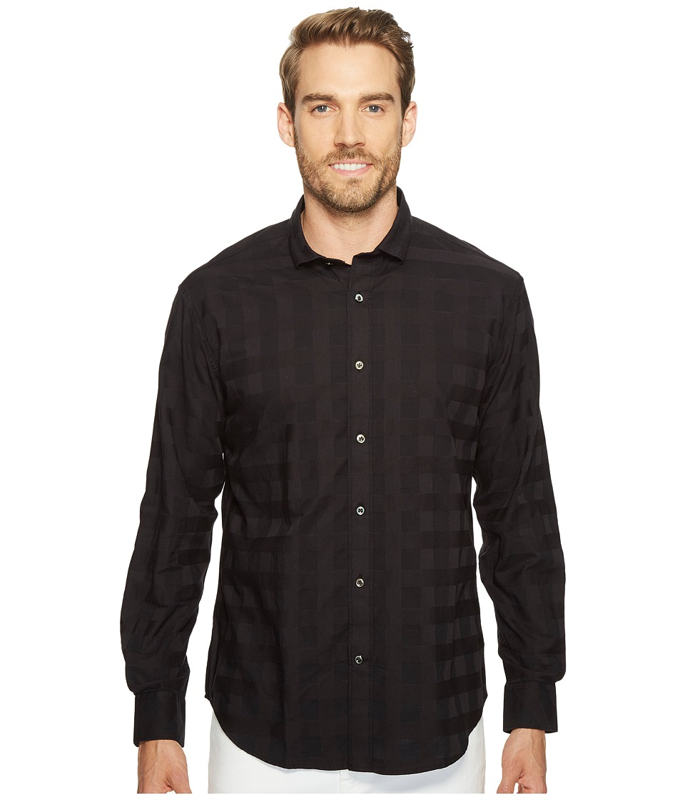 James Campbell - Long Sleeve Peele Plaid Shirt (Black) Men's Clothing
