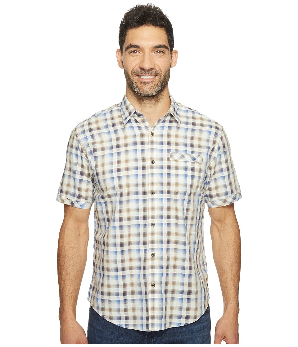 James Campbell - Facto Short Sleeve Plaid Shirt (Blue) Men's Clothing