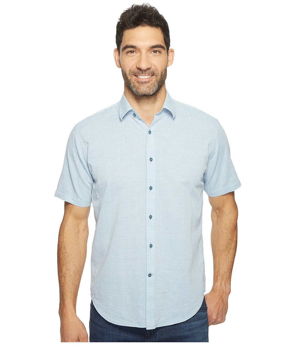 James Campbell - Ellerbe Short Sleeve Woven Shirt (Blue) Men's Clothing